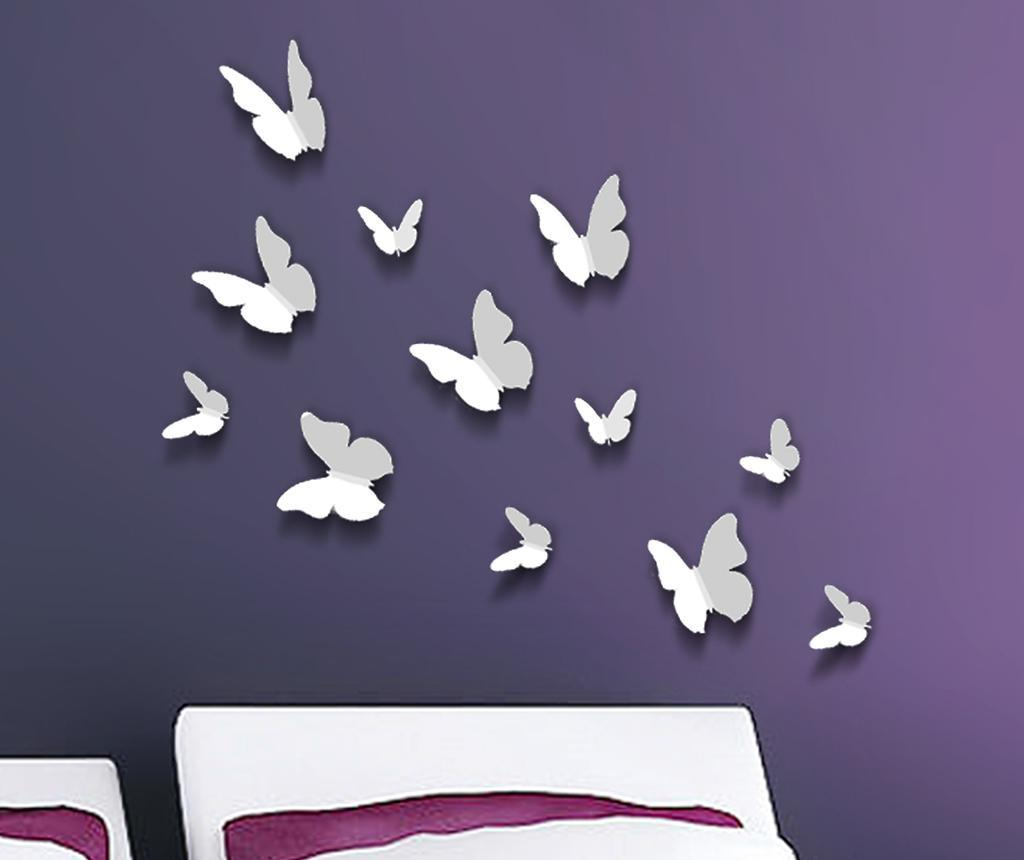 Set 12 stickere 3D Butterfly White