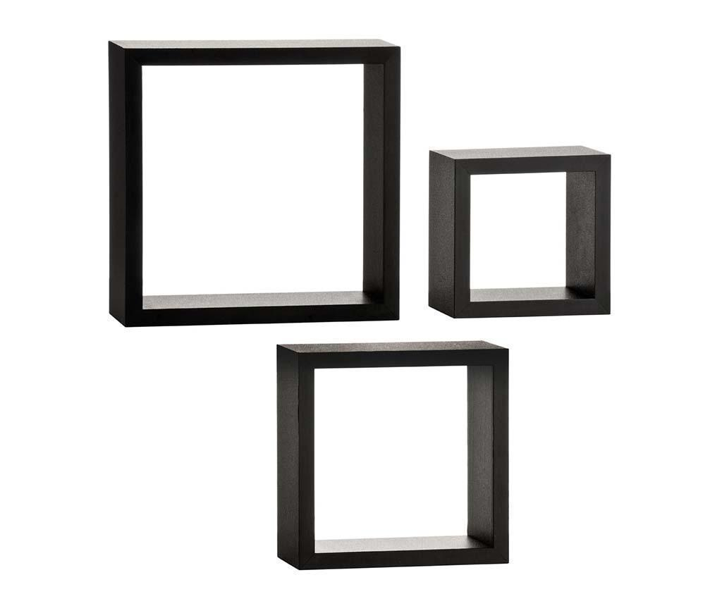 Set 3 rafturi de perete Cubical Black