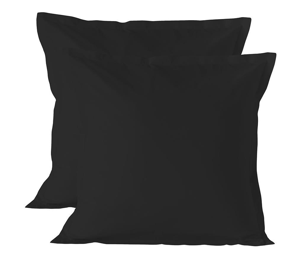 Set 2 fete de perna Basic Square Black 60x60 cm