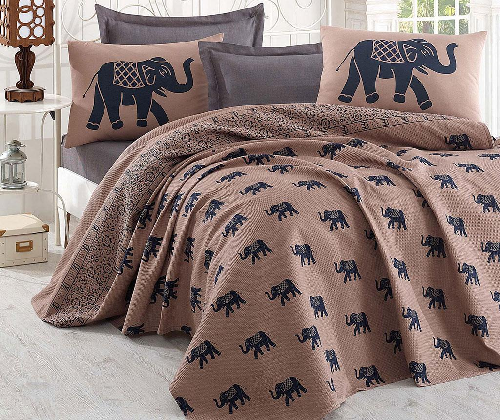Lenjerie de pat Double Pique Elephant Brown Dark Blue 200x235