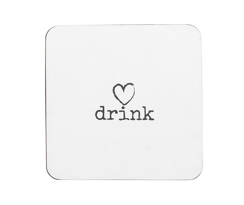 Set 4 coastere Drink Heart