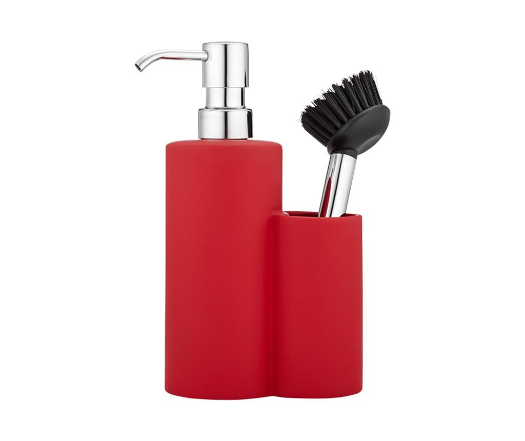 Set dispenser detergent lichid si perie de vase Classic Red
