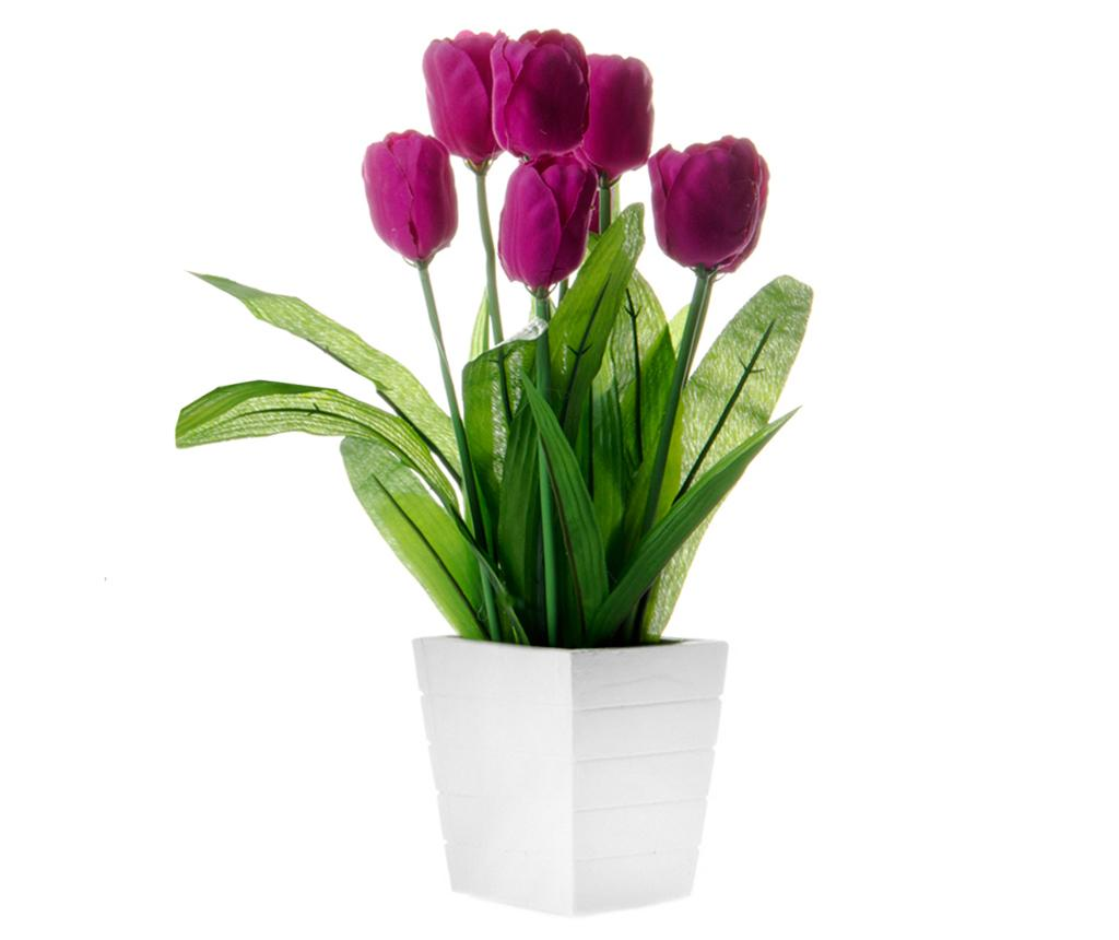 Floare artificiala in ghiveci Tulip Purple
