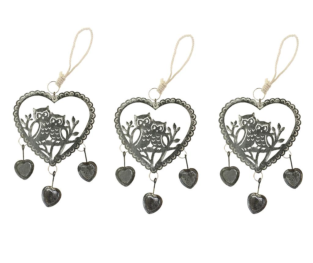 Set 3 decoratiuni suspendabile Owls Heart