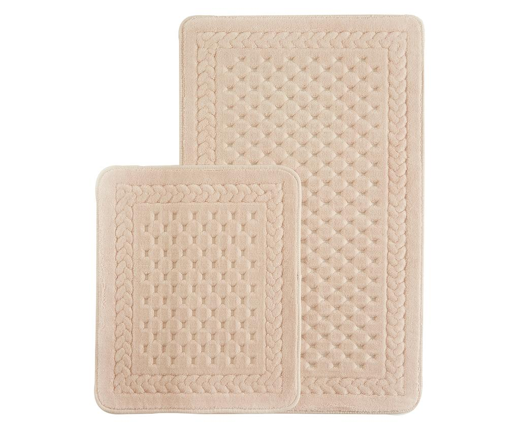 Set 2 covorase de baie Lace Powder Pink