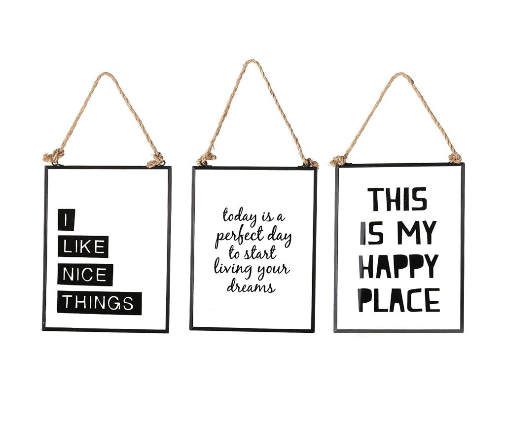 Set 3 decoratiuni de perete Nice Happy Dreams