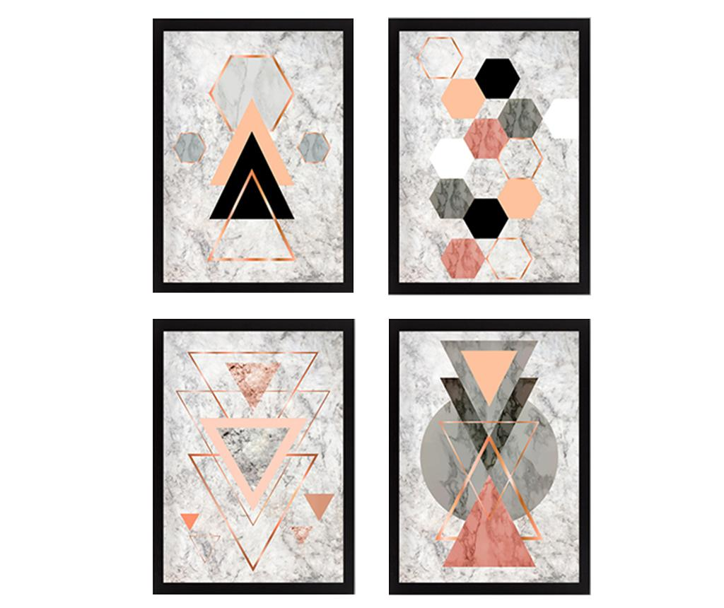 Set 4 tablouri Geometric 34x44 cm