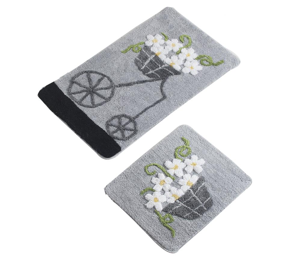 Set 2 covorase de baie Bike Flowers Grey