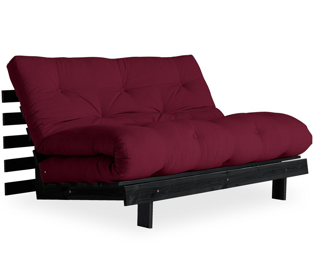 Sofa extensibila Roots Black & Bordeaux 140x200 cm