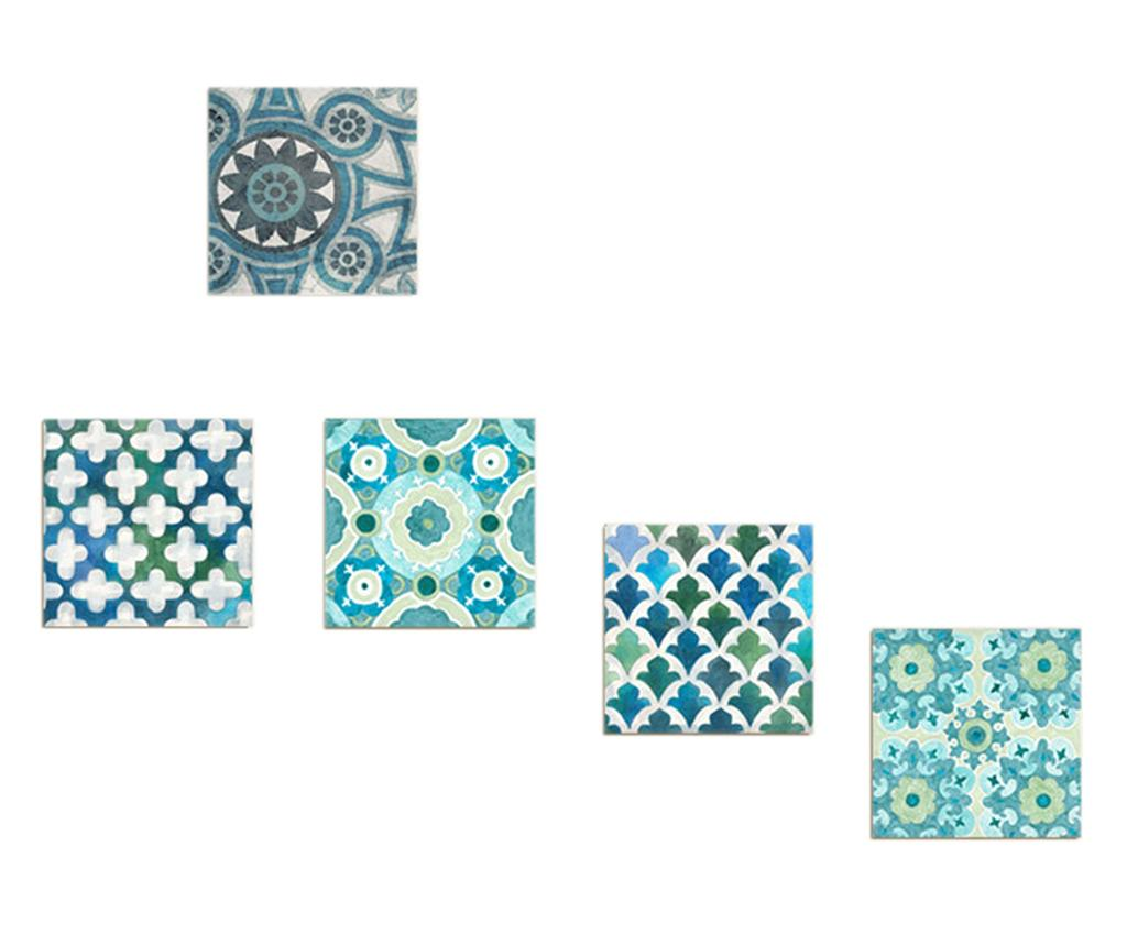 Set 5 tablouri Tiles 15x15 cm