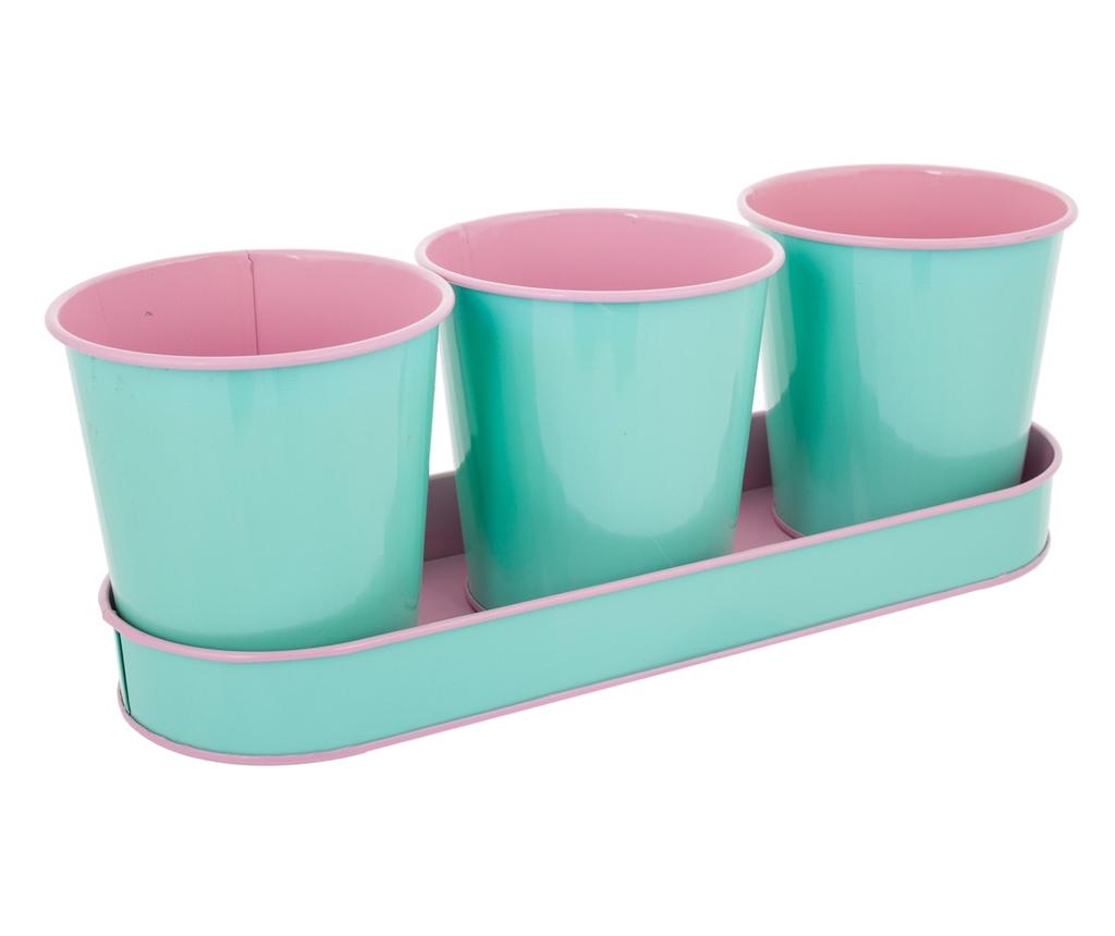 Set 3 ghiveche si 1 tava Lily Mint
