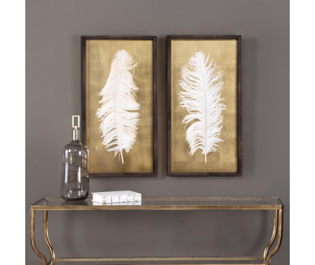 Set 2 tablouri White Feathers 30x70 cm