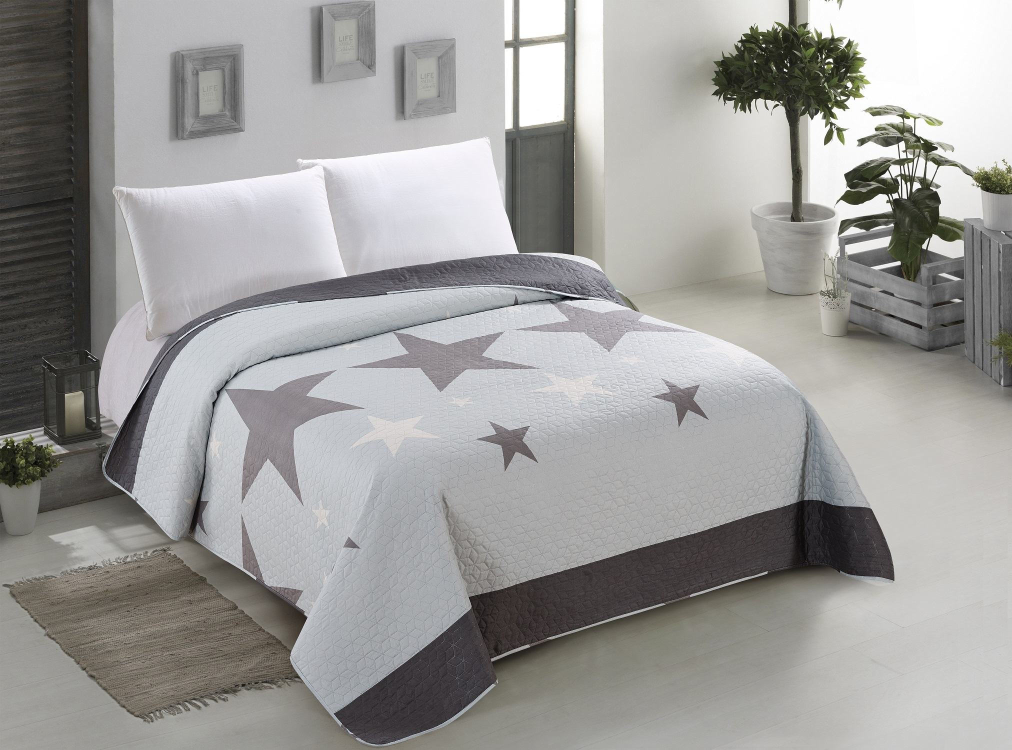 Cuvertura reversibila din microfibra Stardark Light Grey / Dark Grey