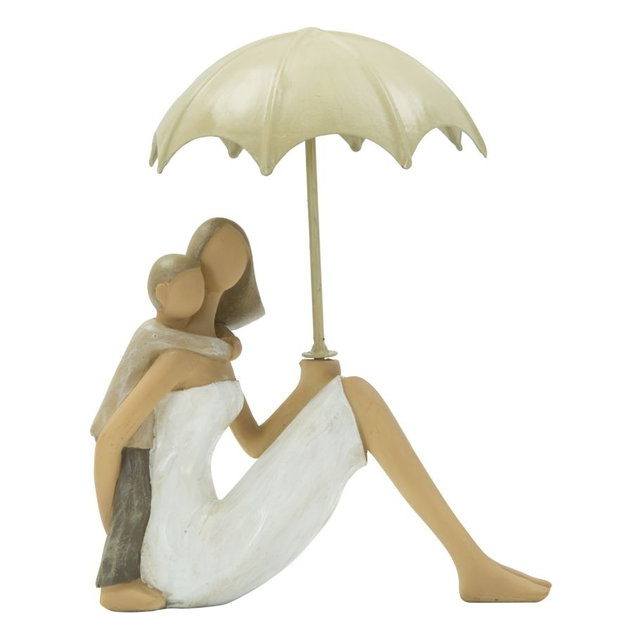 Decoratiune din rasina Woman and son with umbrella Natural